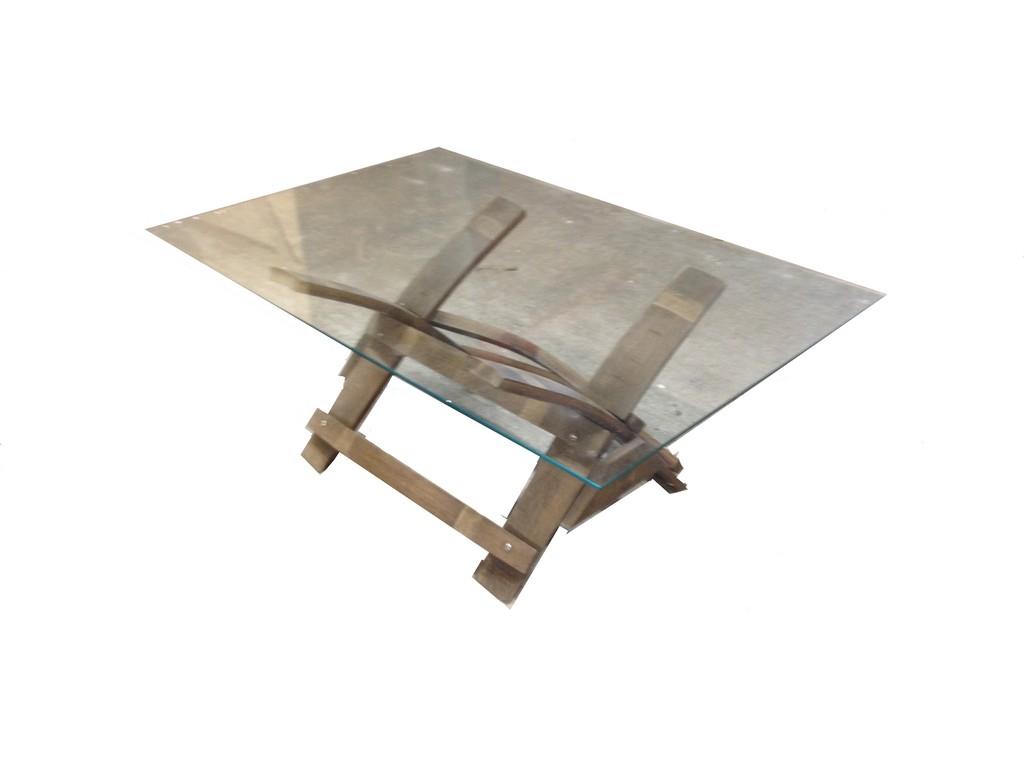 table basse en verre en douelles de barrique. Black Bedroom Furniture Sets. Home Design Ideas