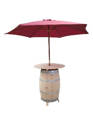 TABLE HAUTE BARRIQUE REHAUSSEE + PARASOL